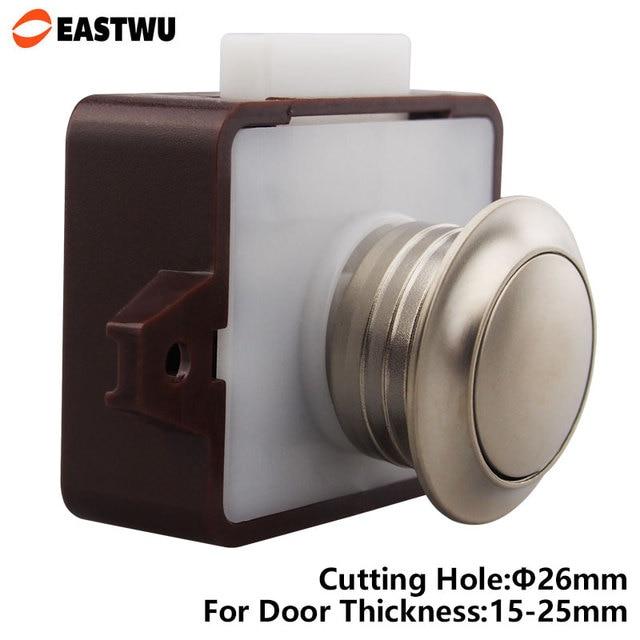 US $7 68  Eastwu Caravan RV Motorhome Camper Boat Furniture Drawer Cabinet  Cupboard Push Knob Button Latch Lock Cutting Hole 26mm P05 BN-in Locks from