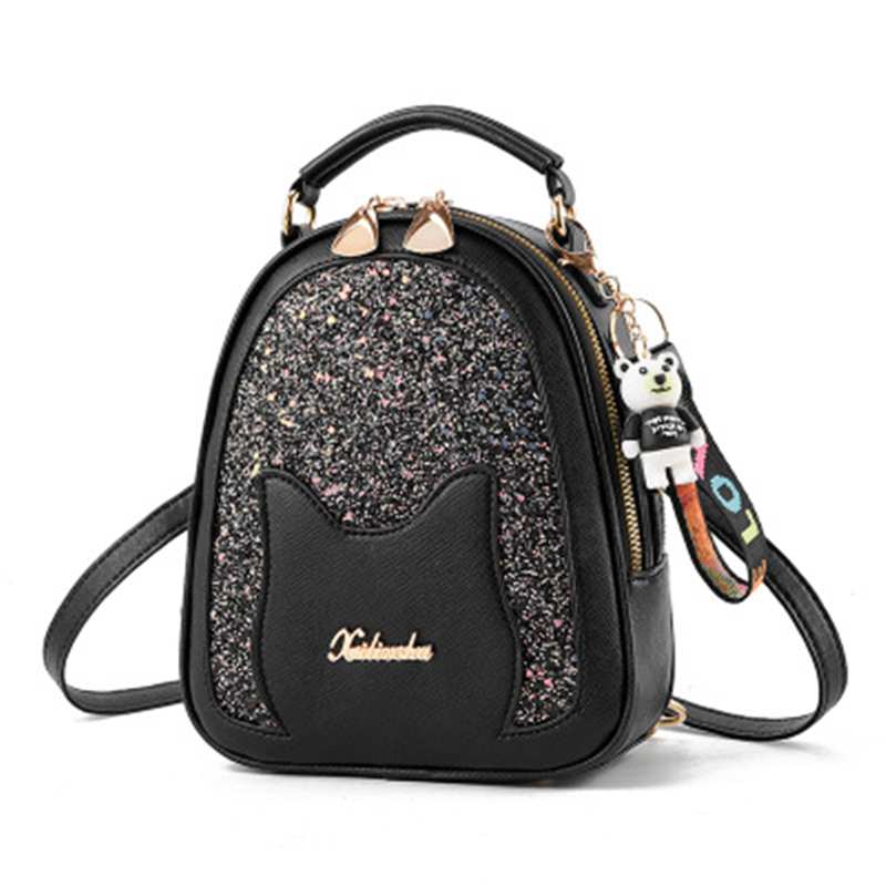 2019 Brand Fashion Shining Sequin Shoulder Bag Women Multi Function Mini Back Pack For Teenage Girls Kigs Girl's Small Backpack
