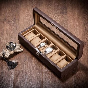 luxury Microfiber PU leather +wooden 6-grid watch storage box With skylight organizer box watch display with lock  MSBH016