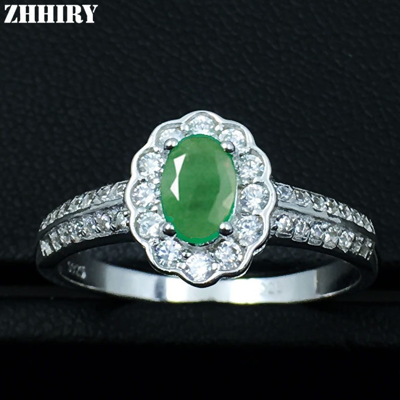 ZHHIRY Genuine Natural Green Emerald Ring Real 925 Sterling Silver Gemstone Wedding Engagement Woman Fine Jewelry цена