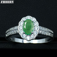 Emerald Ring Real 925 Sterling Silver 100 Natural Gem White Gold Plated Wedding Engagement Woman Jewelry