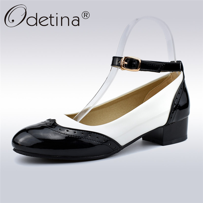 Odetina New Fashion Women Saddle Shoes Black And White Oxford Shoes  Buckle Ankle Strap Pumps Low Heel Round Toe Big Size 34-48