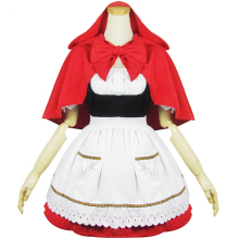 Cosplay LOL The Dark Child Annie Little Red Riding Hood Womens Dress Maid Costume Apron
