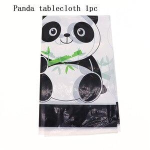 Image 3 - קריקטורה פנדה נושא יום הולדת ילדי ילדה שולחן חד פעמי סט מפיות כוס צלחת מתנת ספקי צד שקית