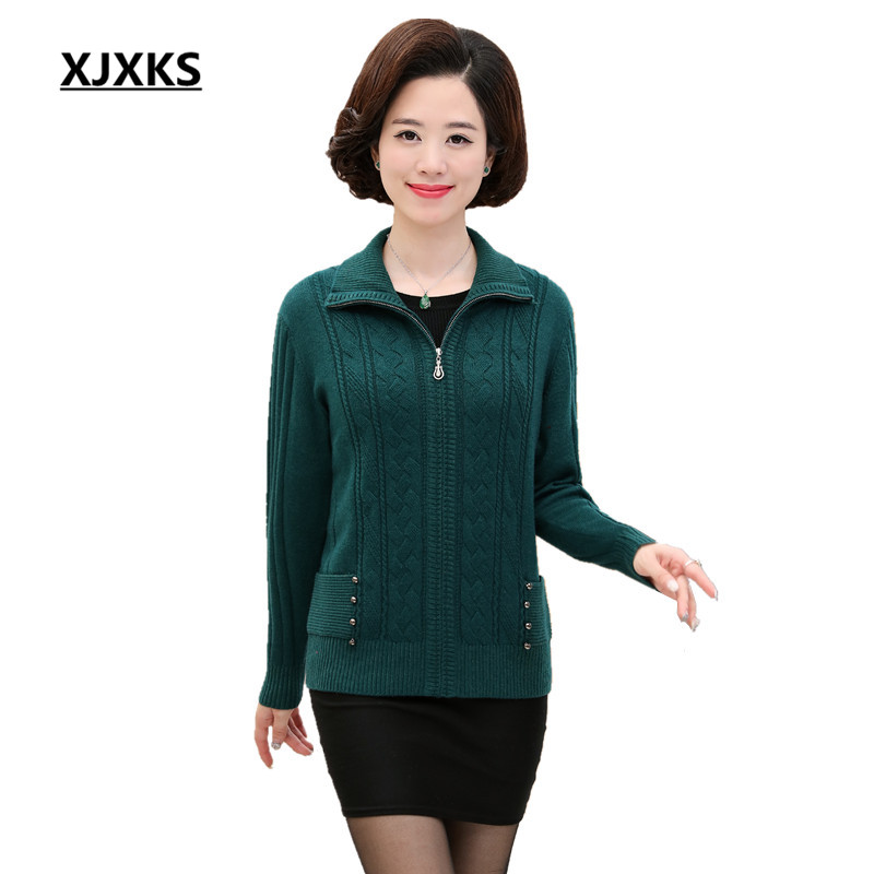 XJXKS Women Thick Winter Coat Knitted Zipper Cardigan High Quality Solid Color Turn down Collar Crocheted
