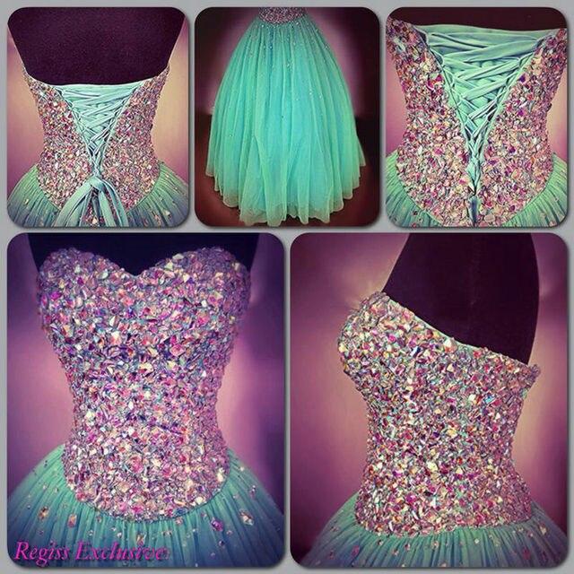 Menta Tulle novia piso longitud vestidos largos de baile elegante ...