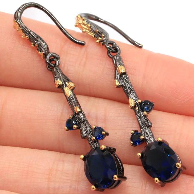 Sublime Antique Vintage Tanzanite Womans Gift Black Gold Silver Earrings 51x8mmSublime Antique Vintage Tanzanite Womans Gift Black Gold Silver Earrings 51x8mm