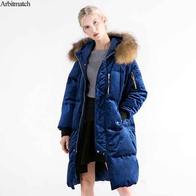 Arbitmatch Fashion Long Down Jacket Women Winter Natural Large ...