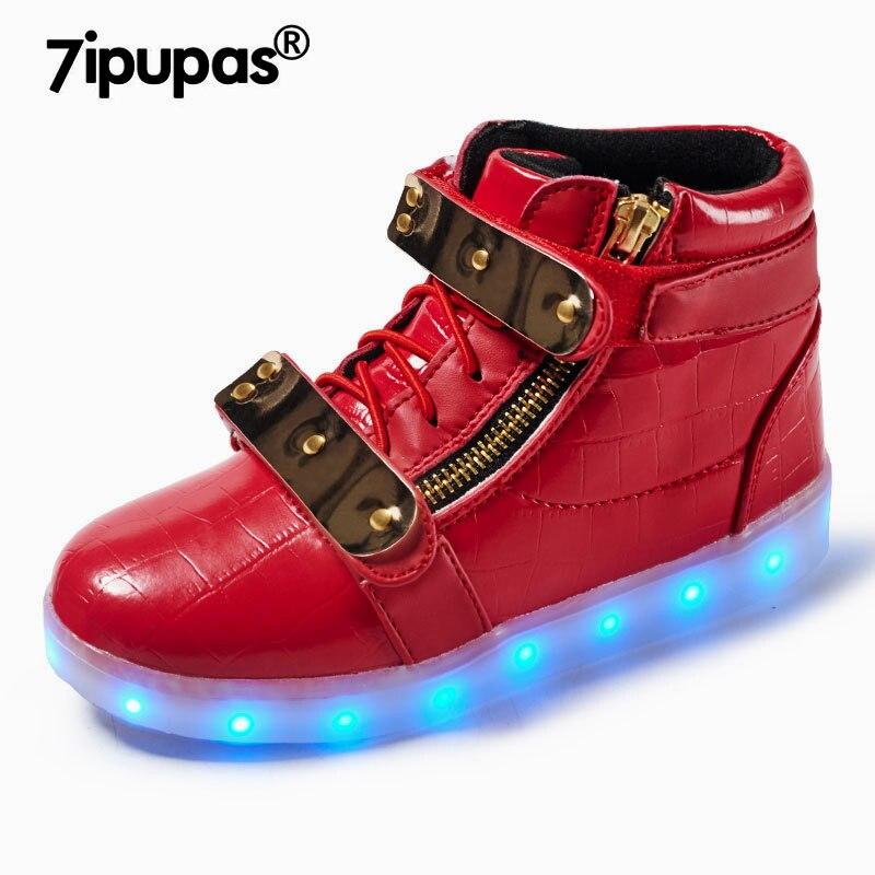 7 Ipupas High Top Scarpe Rosse Led Luce Bambini Sneakers Ragazzi Hardware In Metallo Hook & Loop Scarpe Bambini 11 Colori Glowing Scarpe Per Ragazze