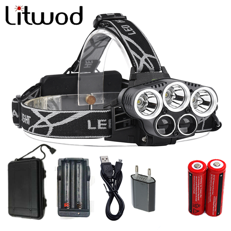 Litwod Z302309A 15000lm Led Head Lamp 3T6+2LST Alu-alloy Body Headlamp Headlight 6 Mode Head Light Torch for hunting comping t a m 10 alu silver