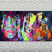 Palette knife portrait Face Oil painting Character figure canvas Hand painted Francoise Nielly wall Art picture 500