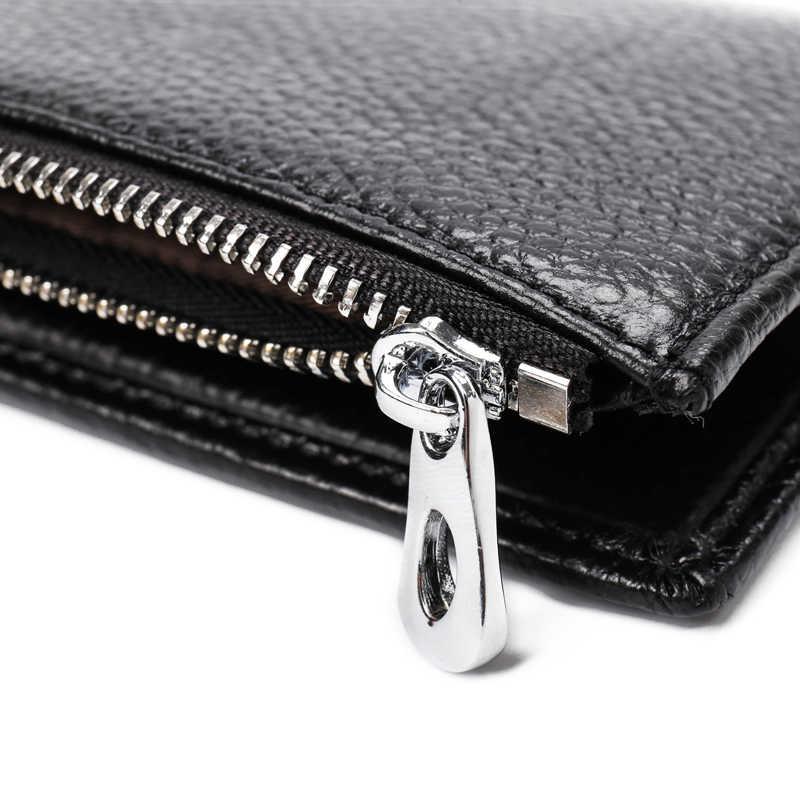 Новые тонкие из коровьей кожи Бизнес карты бумажник молния бренд Дизайн держатель для карт с Coin Pocket Bifold мужской кошелек высокое качество карты