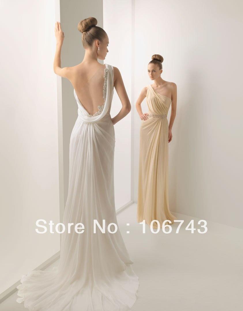 2016 strass et perles appliques nouveau chaud une épaule Sexy voir à travers le dos robes de demoiselle d'honneur en mousseline de soie de bal avec des mariages