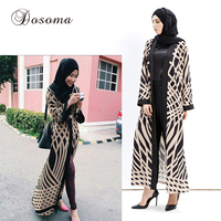 Fashion Islamic Muslim Pattern Maxi Dress Print Cardigan Robes Abaya Turkish Instant Hijab Knitting Cotton Vestidos
