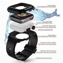 Waterproof case+Strap for Apple Watch band 42mm/38mm iwatch band series 3 2 bracelet Full Silicone Watch correa+Protective cover pc cover case for apple watch 3 2 1 42mm 38mm iwatch series watch case colorful plating full frame protective case armor shell