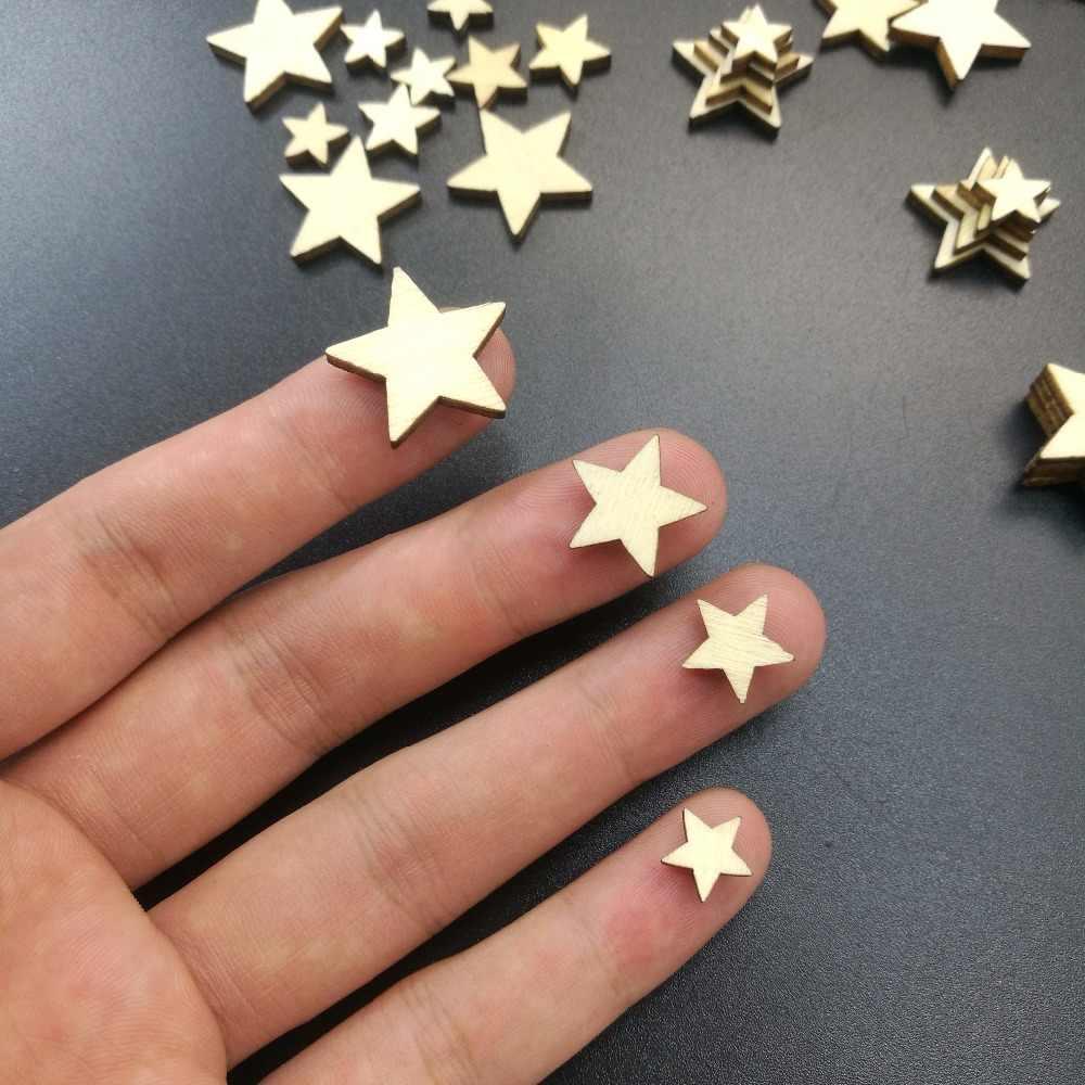 Drewno DIY drewniana gwiazda ozdoby dekoracja Scrapbooking ślub DIY rzemiosło dekorację na imprezę świąteczną