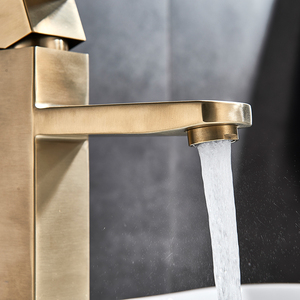 Image 2 - Brushed Gold Basin Sink Faucet Single Lever Square Hot Cold Water Tap Deck Mounted Bathroom Vessel Sink Mixers One Hole