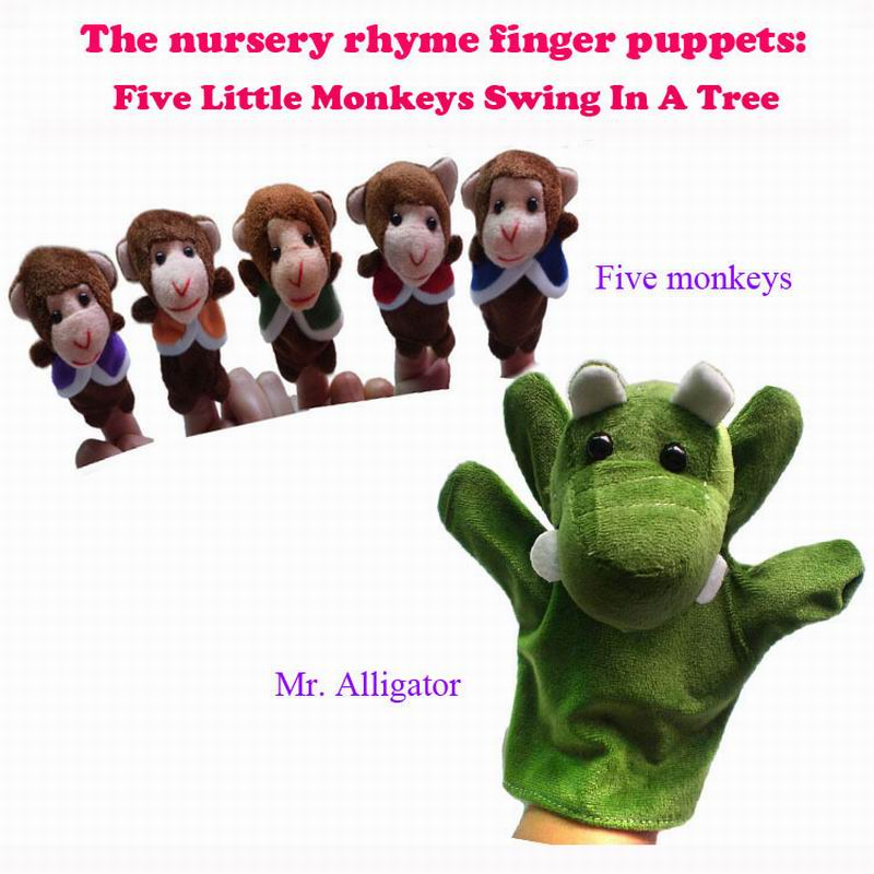 Us 5 9 Retail World Nursery Rhyme Puppets Five Little Monkeys Swing In A Tree Plush Finger Puppets For Kids Students Talking Props In Puppets From
