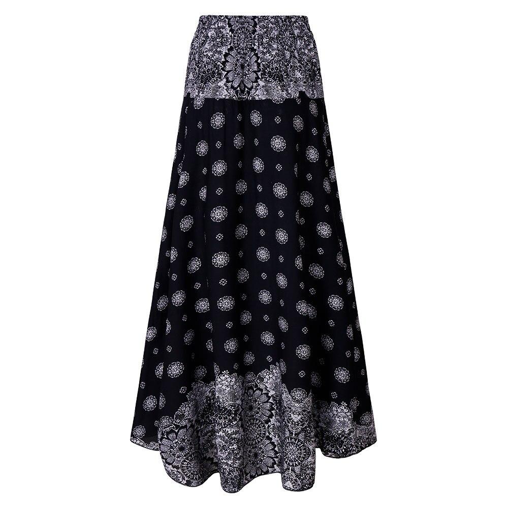 Beach Skirts Sexy 2018 Summer Women Casual High Waist Boho Long Maxi Skirt Vocation Floral Skirt