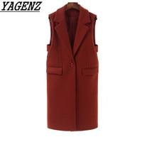 2018 Autumn Winter New Woolen Vest Jacket Coat Sleeveless Long Outerwear High grade Large size Casual Female Wool Waistcoat 4XL
