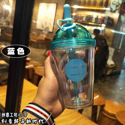 88e6d062e31 Transparent Sports Plastic Cups Pinkycolor Glass Adult Children Bottles and Straw  Children's Drinking Water Bottle Water-in Engraving from Home & Garden on  ...