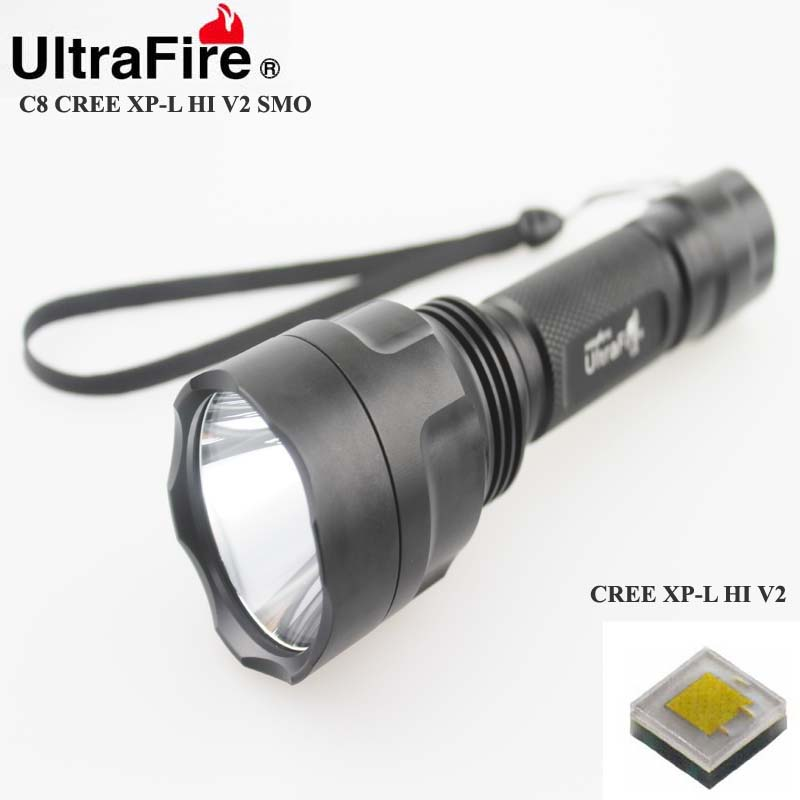 U-F C8 CREE XP-L HI V2 1600lm Cool White Light 1-Mode SMO LED Flashlight (1 x 18650) uitrafire af 13 250lm 3 mode white zooming flashlight w cree xp e q5 black golden 1 x 18650