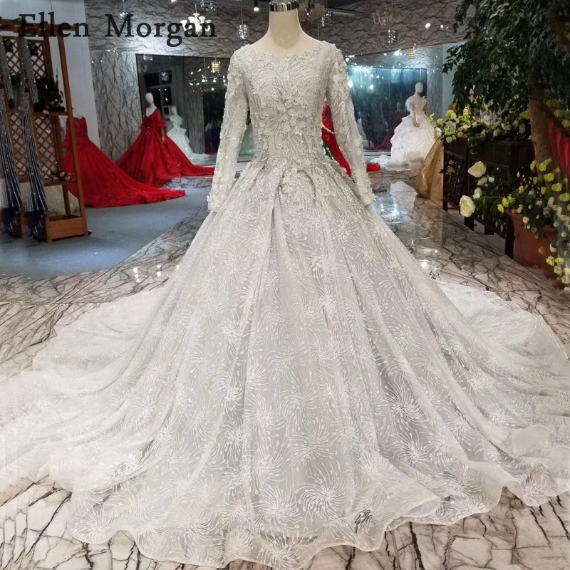Silver Wedding Gowns: Colorful Silver Glitter Fabric Ball Gowns Wedding Dresses