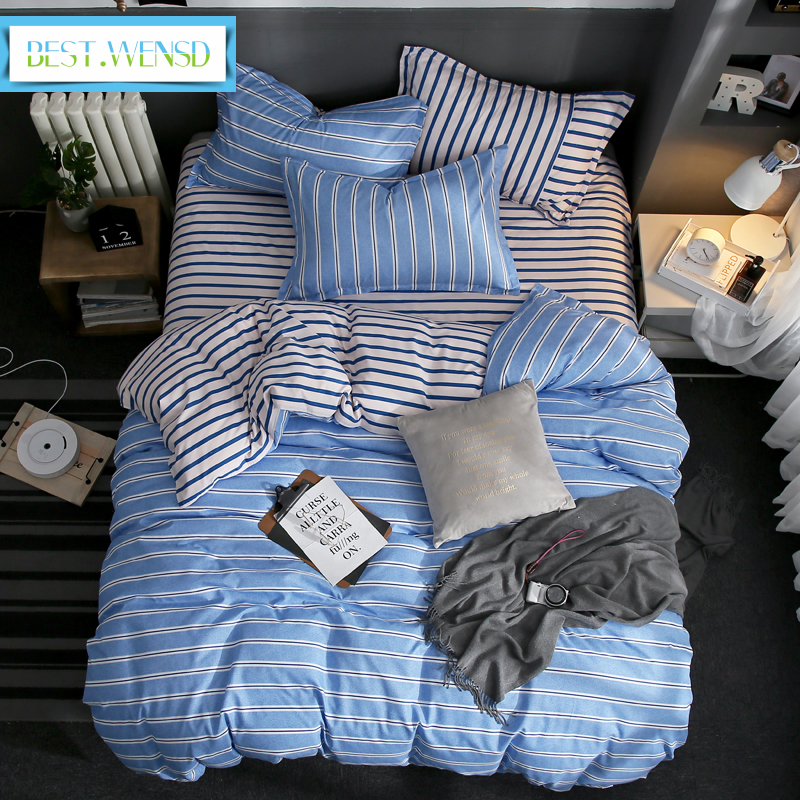 BEST.WENSD Simple Style Home Bedroom Bedding Sets Warm Ultra Soft Cotton 3/4pc Duvet Cover Sets Bed Cover Flat Sheet Pillowcase