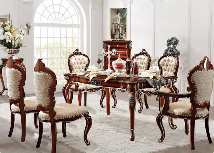 Home furniture european style classic dining room set long for Long dining room table sets