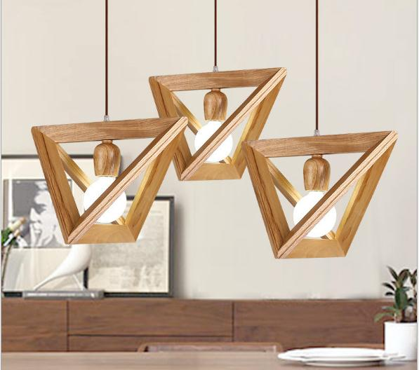 Nordic Art iron pendant light bar restaurant triangle geometric solid wood droplight lamp E27 38cm