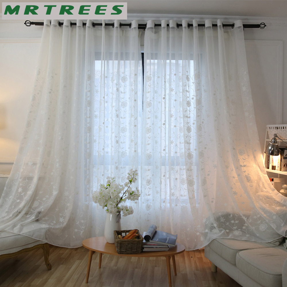 MRTREES White Linen Embroidered Sheer Window Curtains Tulle Curtains for Living Room Bedroom Kitchen Voile Curtains for Window