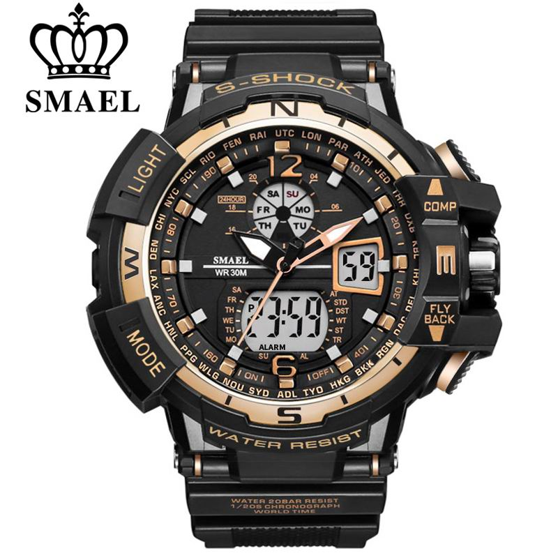 Brand SMAEL Men Sports Watches Dual Display Analog Digital Clock LED Electronic Quartz Wristwatches Waterproof Military