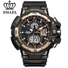 Marca SMAEL Hombres Deportes Relojes Dual Display Analógico Digital Reloj LED Electrónico Relojes de pulsera de Cuarzo Impermeable Reloj Militar