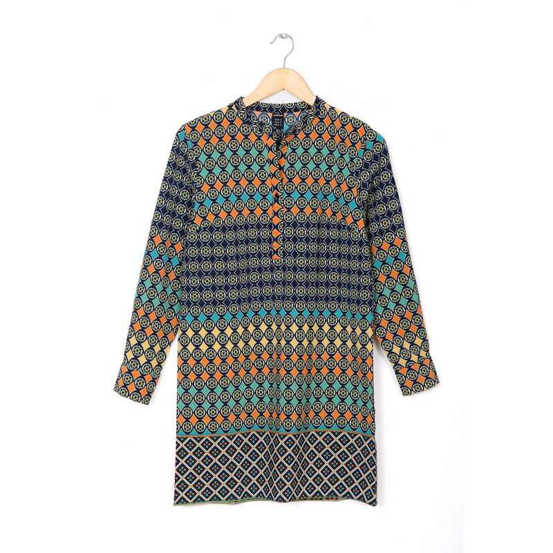 QZ2091 Новое модное женское шифоновое платье с геометрическим тотемным принтом сексуальное винтажное платье с v-образным вырезом с длинным рукавом повседневное свободное Брендовое платье