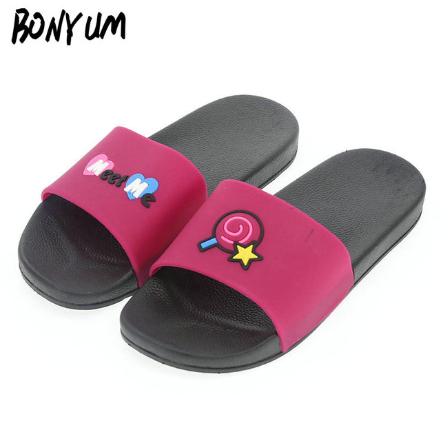 133379e8d BONYUM Lollipop Flat Bathroom Slippers Women Men Indoor House Home Slippers  Outdoor Beach Flip Flops Shoes Summer Slides T326