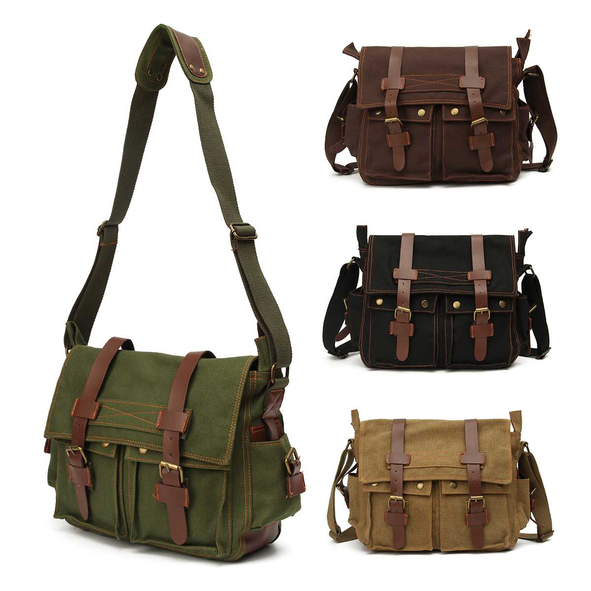 New Men's Vintage Canvas Leather Military Large Shoulder Messenger Bag Sport Bag Outdoor Bags