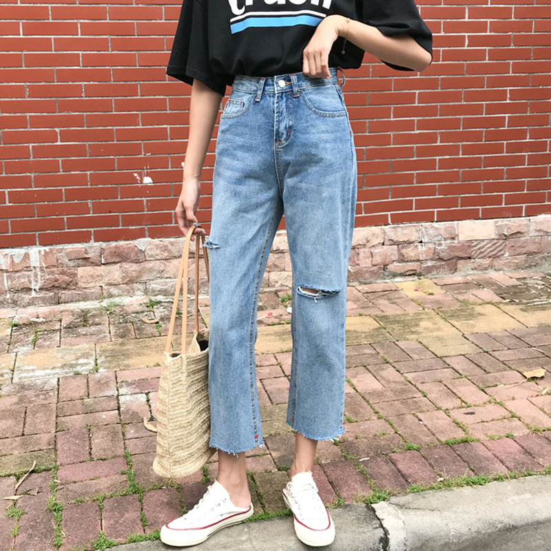 Cheap Wholesale 2019 New Spring Summer Hot Selling Women's Fashion Casual  Denim Pants MW106(China)