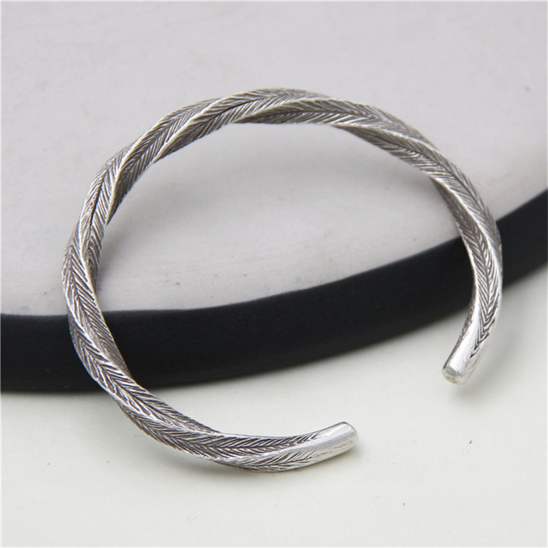 JINSE Twist Rope Shape Bangle 999 Sterling Silver Bracelet Opened Solid Couples Jewelry Birthday Gift Men Pulseiras Classic