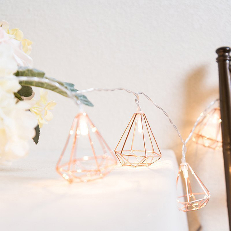 3M 20 LED Rose gold Copper Wire LED String Light Iron Geometric hexagons With AA battery Operated For Wedding Home Decor