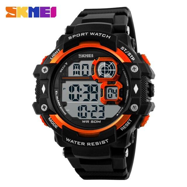SKMEI Большой СВЕТОДИОДНЫЙ Цифровые Часы Мужчины Военный Противоударный Наручные Часы 50 М Водонепроницаемый Открытый Мода Повседневная Спортивные Часы 1118