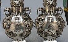 15 Marcado China Prata Palácio Flor Dragão Besta Estátua Riqueza Fu Vaso Pot Par
