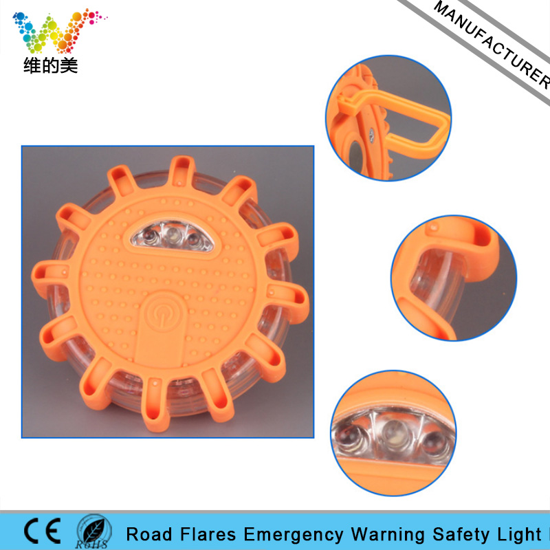Round Road Safety Flashlight Emergency Car Vehicle Magnetic Flare Amber Flashing Warning Light