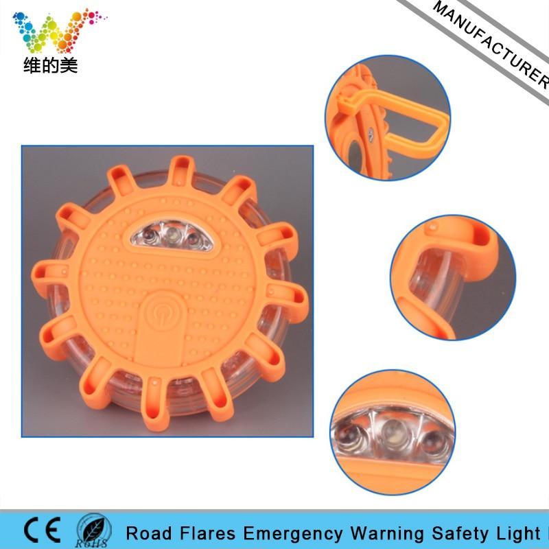 Round Road Safety Flashlight Emergency Car Vehicle Magnetic Flare Amber Flashing Warning Light flashing warning stoplight controller for car emergency brake