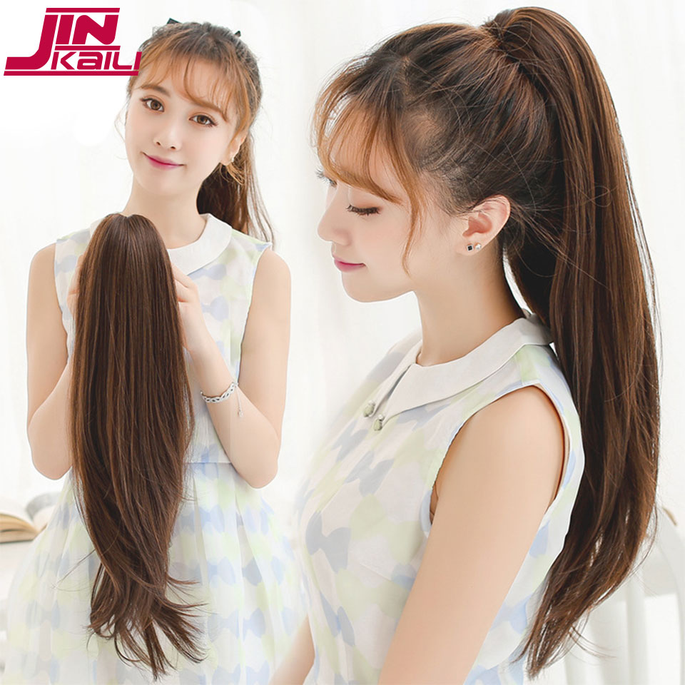 JINKAILI WIG 16 Short Straight Synthetic Women Claw on Ponytail Clip in Pony Tail Hair Extensions Straight Style Hairpiece