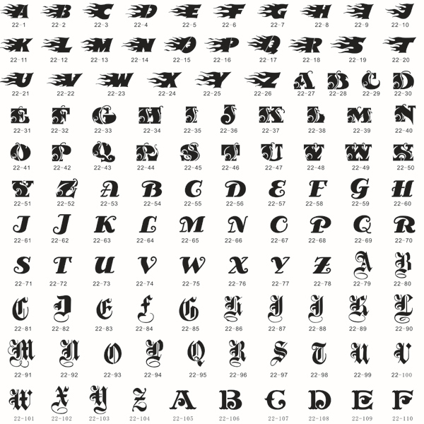 160 Beautiful Letters Airbrush Body Art Tattoo Stencil Template