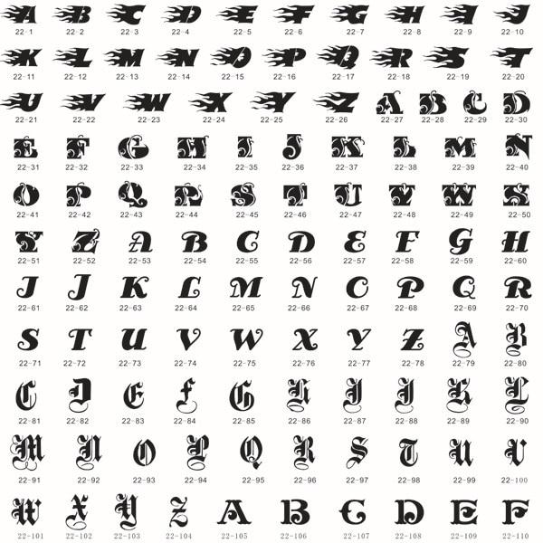 Online Shop 160 Beautiful Letters Airbrush Body Art Tattoo Stencil