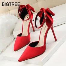 5ddf0ce7a511f1 BIGTREE femmes pompes 2018 nouvelles femmes talons hauts papillon-noeud  chaussures de mariage rouge femmes chaussures élégant fê.