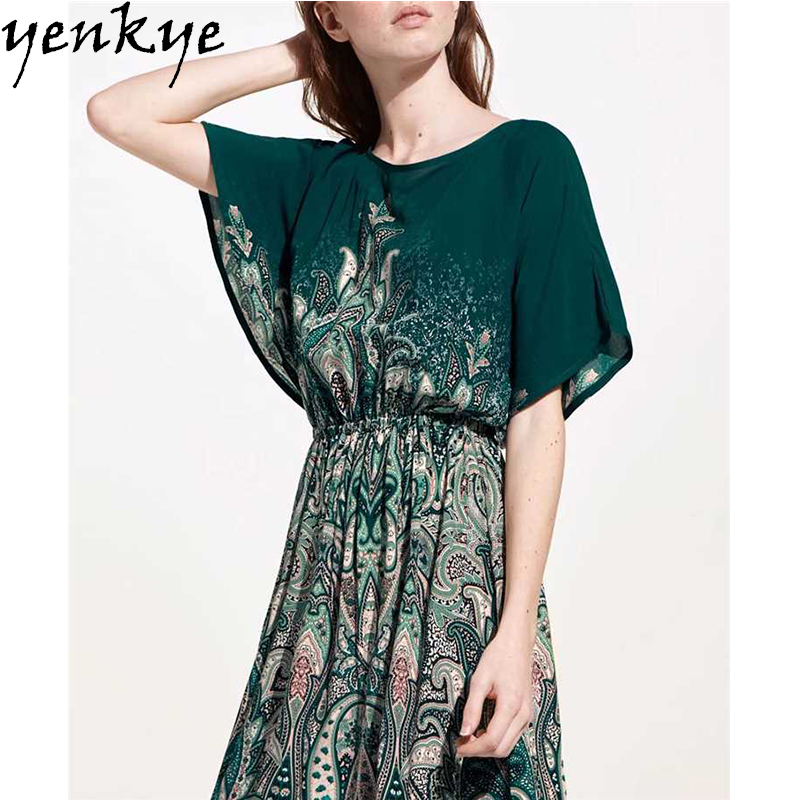 Summer Women Printed Dresses O Neck Short Sleeve Maxi Long Dress Sexy Backless Elastic Waist Split Chiffon Dress Plus Size