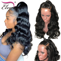 Elva Hair 180% Density 360 Lace Frontal Wig Pre Plucked With Baby Hair 10 24 Body Wave Natural Color Brazilian Remy Hair Wigs