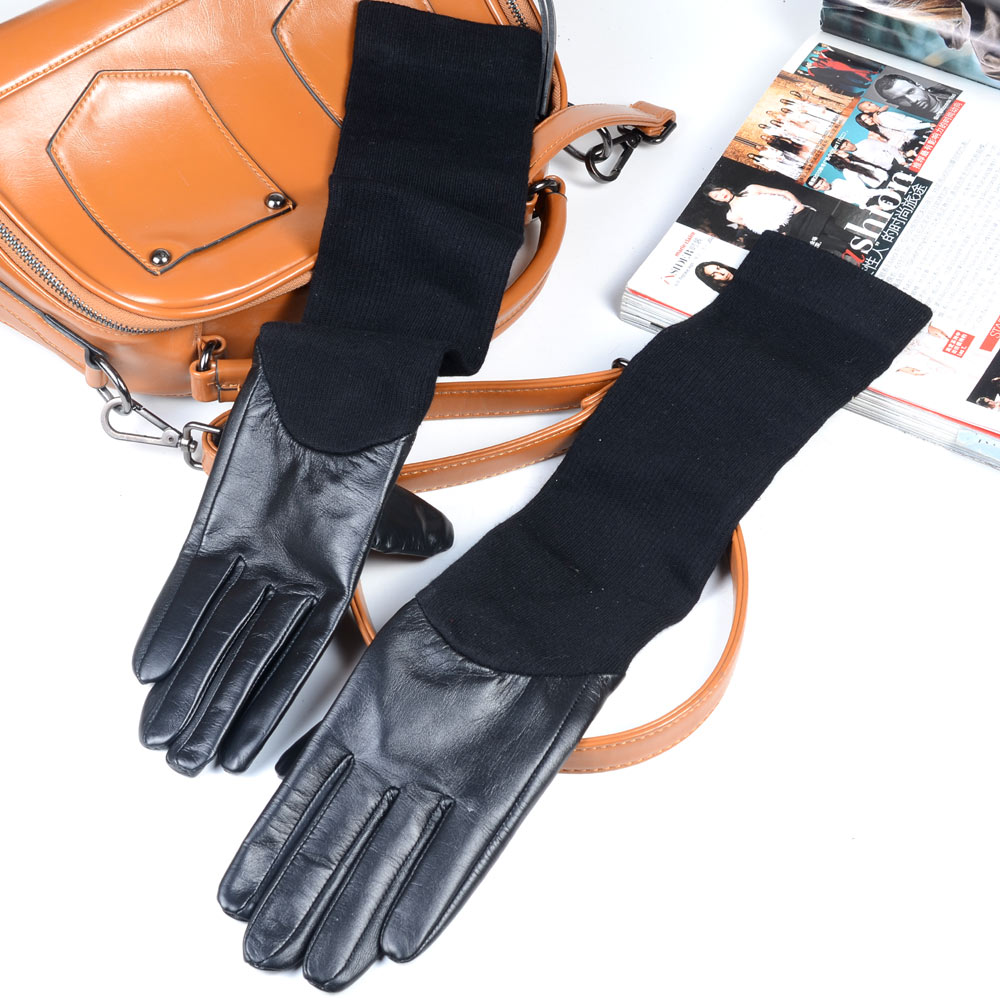 """48cm 19"""" Women's Real leather with Knitting Stitching Party Evening opera/long gloves mid-long Touch Screen long gloves"""